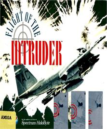 Box cover for Flight of the Intruder on the Commodore Amiga.
