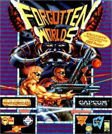Box cover for Forgotten Worlds on the Commodore Amiga.