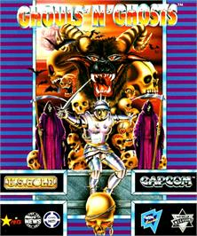 Box cover for Ghouls'n Ghosts on the Commodore Amiga.