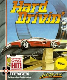 Box cover for Hard Drivin' on the Commodore Amiga.