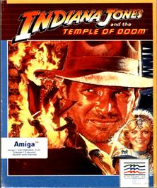 Box cover for Indiana Jones and the Temple of Doom on the Commodore Amiga.