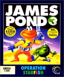 Box cover for James Pond 3: Operation Starfish on the Commodore Amiga.