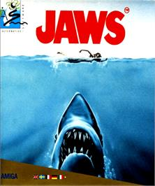 Box cover for Jaws on the Commodore Amiga.
