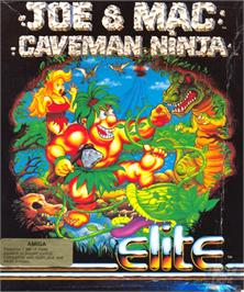 Box cover for Joe & Mac: Caveman Ninja on the Commodore Amiga.