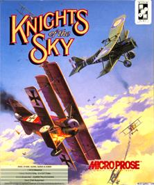 Box cover for Knights of the Sky on the Commodore Amiga.