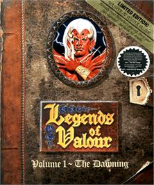 Box cover for Legends of Valour on the Commodore Amiga.