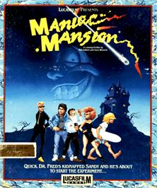 Box cover for Maniac Mansion on the Commodore Amiga.