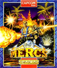 Box cover for Mercs on the Commodore Amiga.