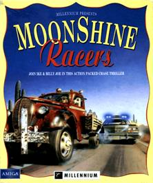 Box cover for Moonshine Racers on the Commodore Amiga.