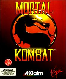Box cover for Mortal Kombat on the Commodore Amiga.