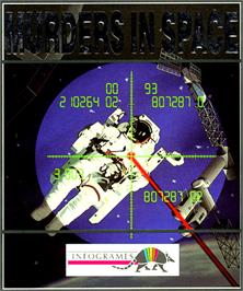 Box cover for Murders in Space on the Commodore Amiga.