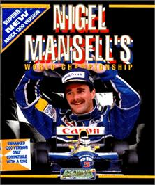 Box cover for Nigel Mansell's World Championship on the Commodore Amiga.