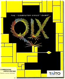 Box cover for Qix on the Commodore Amiga.