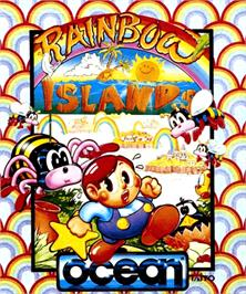Box cover for Rainbow Islands on the Commodore Amiga.
