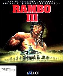 Box cover for Rambo III on the Commodore Amiga.