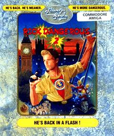 Box cover for Rick Dangerous 2 on the Commodore Amiga.