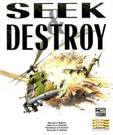 Box cover for Seek and Destroy on the Commodore Amiga.