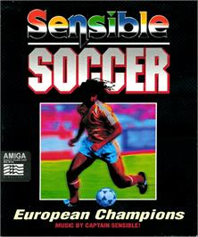 Box cover for Sensible Soccer: European Champions on the Commodore Amiga.