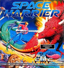Box cover for Space Harrier on the Commodore Amiga.