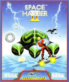 Box cover for Space Harrier II on the Commodore Amiga.