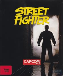 Box cover for Street Fighter on the Commodore Amiga.