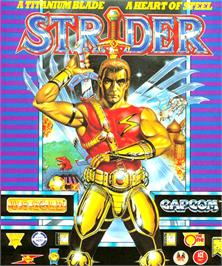 Box cover for Strider on the Commodore Amiga.