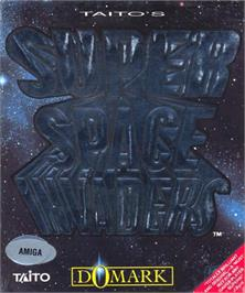 Box cover for Super Space Invaders on the Commodore Amiga.