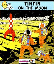 Box cover for Tintin on the Moon on the Commodore Amiga.