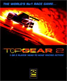 Box cover for Top Gear 2 on the Commodore Amiga.
