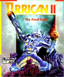 Box cover for Turrican II: The Final Fight on the Commodore Amiga.