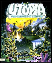 Box cover for Utopia: The New Worlds on the Commodore Amiga.