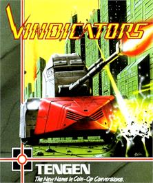 Box cover for Vindicators on the Commodore Amiga.