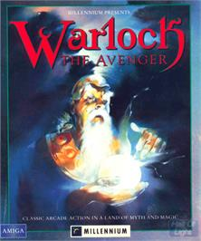 Box cover for Warlock: The Avenger on the Commodore Amiga.