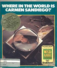 Box cover for Where in the World is Carmen Sandiego on the Commodore Amiga.