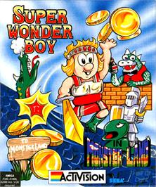 Box cover for Wonder Boy in Monster Land on the Commodore Amiga.