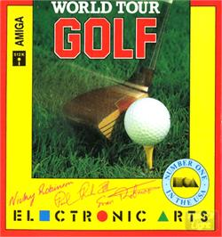 Box cover for World Tour Golf on the Commodore Amiga.