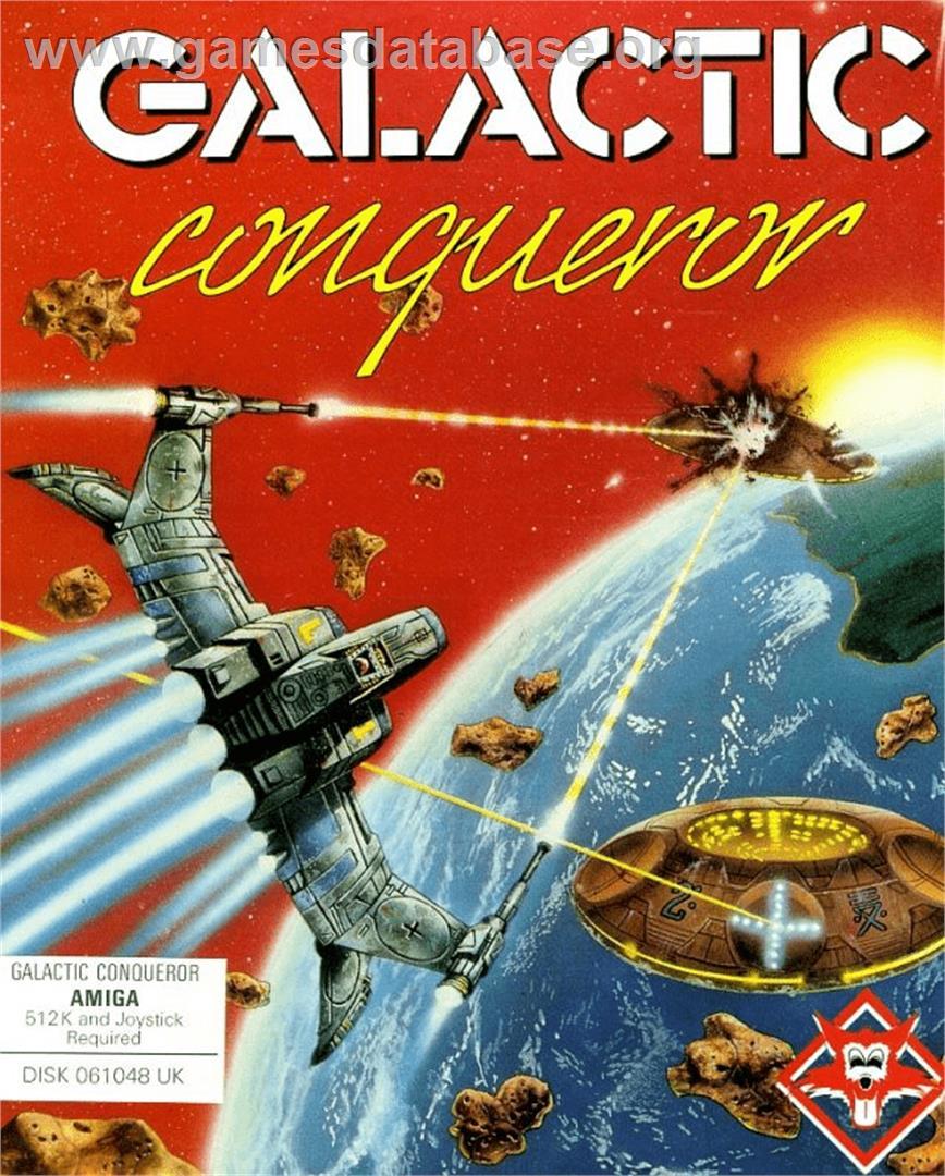 Box cover for Galactic Conqueror on the Commodore Amiga.