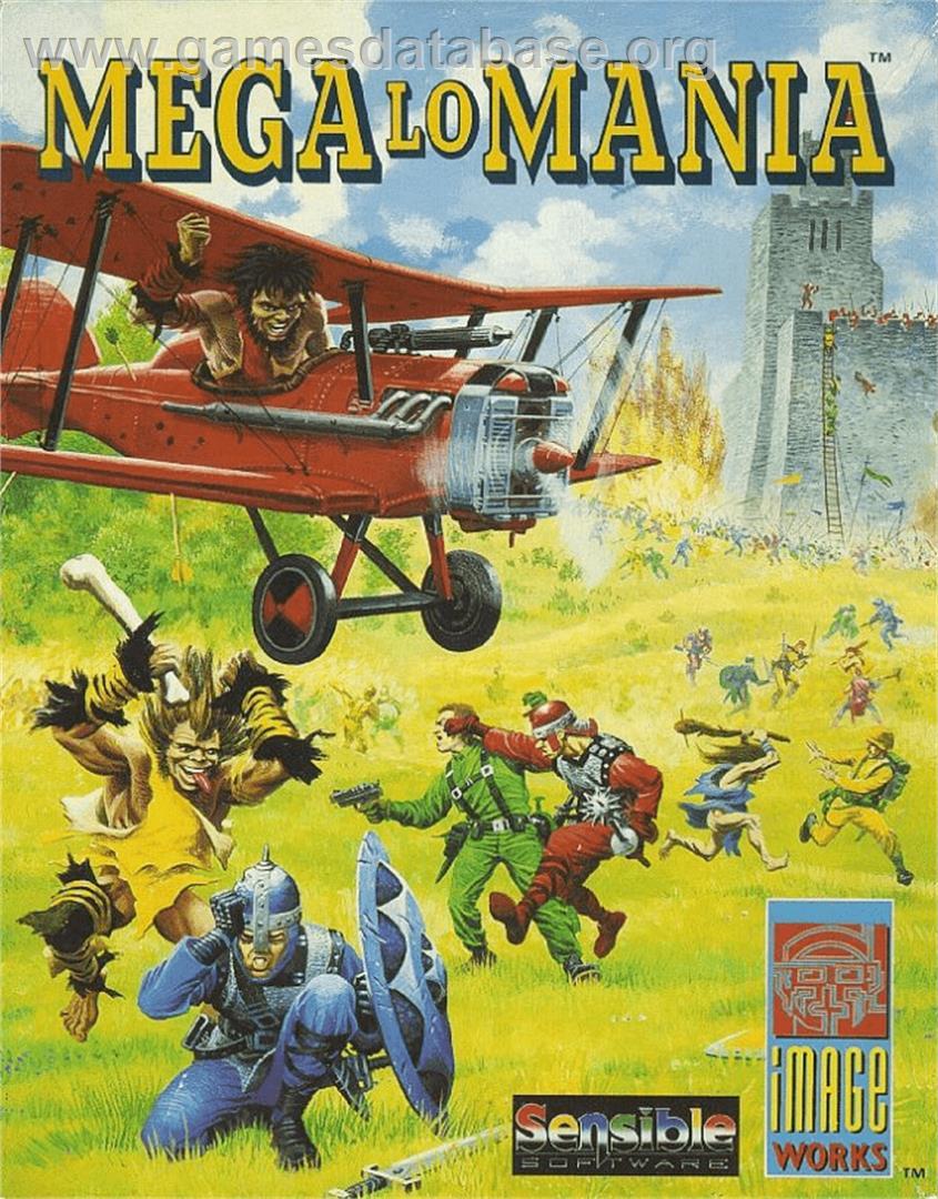 Box cover for Mega lo Mania on the Commodore Amiga.