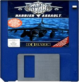 Cartridge artwork for AV8B Harrier Assault on the Commodore Amiga.