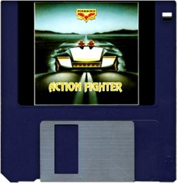 Cartridge artwork for Action Fighter on the Commodore Amiga.