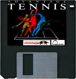 Cartridge artwork for Advantage Tennis on the Commodore Amiga.