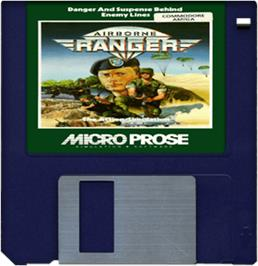 Cartridge artwork for Airborne Ranger on the Commodore Amiga.
