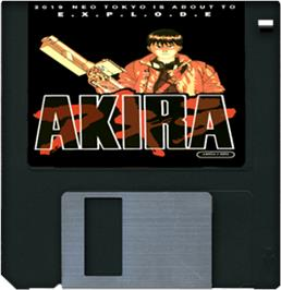 Cartridge artwork for Akira on the Commodore Amiga.