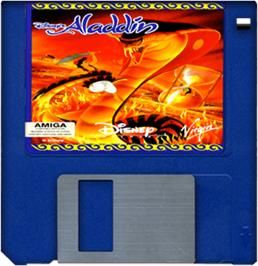 Cartridge artwork for Aladdin on the Commodore Amiga.
