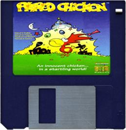 Cartridge artwork for Alfred Chicken on the Commodore Amiga.