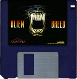 Cartridge artwork for Alien Breed on the Commodore Amiga.