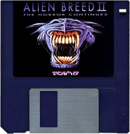 Cartridge artwork for Alien Breed II: The Horror Continues on the Commodore Amiga.