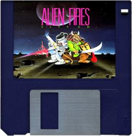 Cartridge artwork for Alien Fires: 2199 AD on the Commodore Amiga.