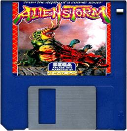 Cartridge artwork for Alien Storm on the Commodore Amiga.