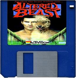 Cartridge artwork for Altered Beast on the Commodore Amiga.